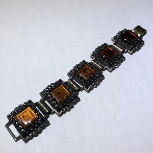 Vintage silver & brown crystal rhinestone bracelet